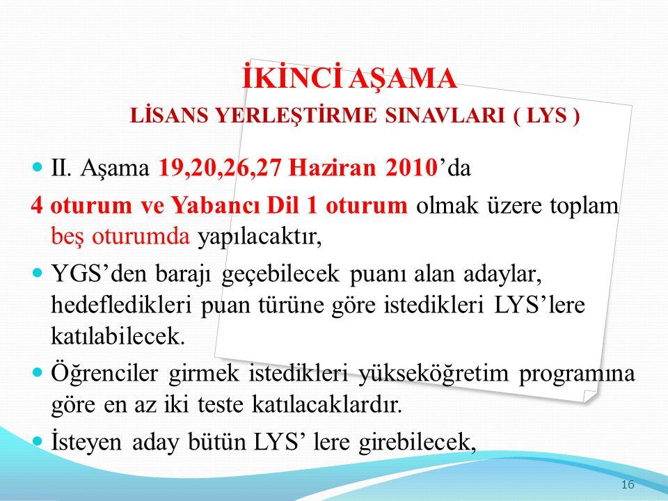 İKİNCİ AŞAMA LİSANS YERLEŞTİRME SINAVLARI ( LYS )  II. Aşama 19,20,26,27 Haziran 2010'da 4 oturum ve Yabancı Dil 1 oturum olmak üzere toplam beş otur