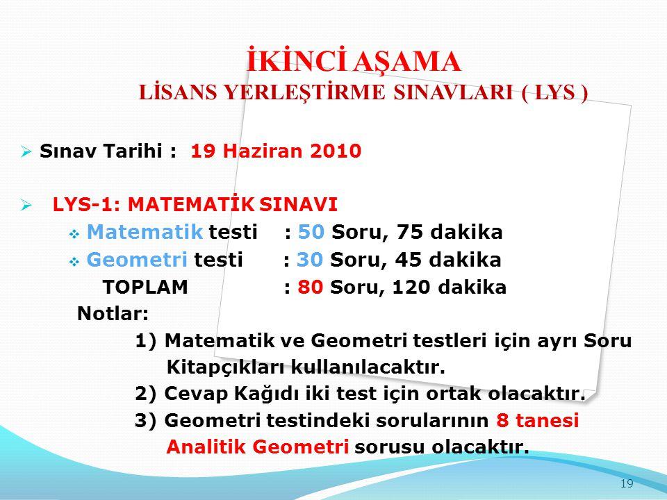  Sınav Tarihi : 19 Haziran 2010  LYS-1: MATEMATİK SINAVI  Matematik testi : 50 Soru, 75 dakika  Geometri testi : 30 Soru, 45 dakika TOPLAM : 80 So