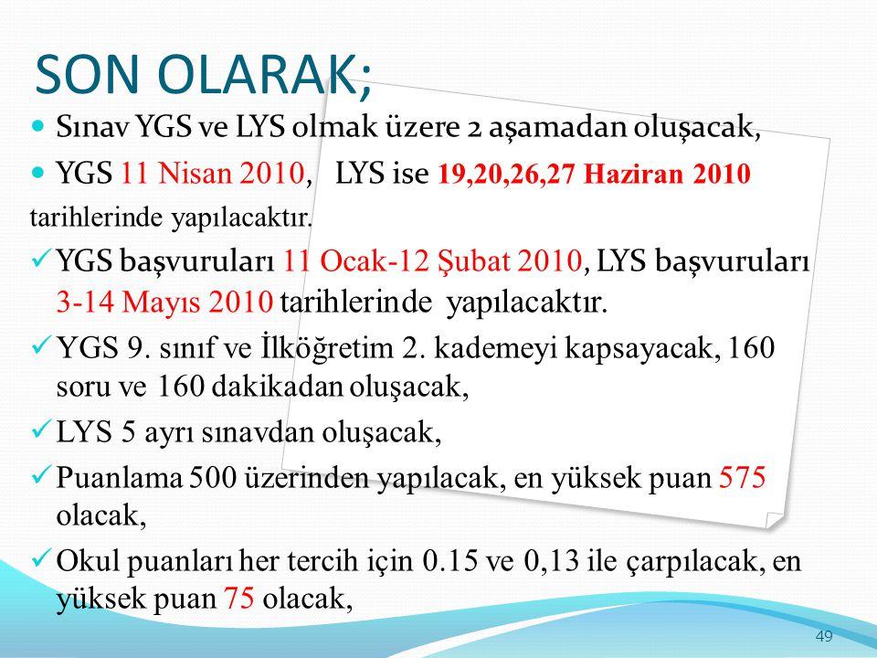 SON OLARAK;  Sınav YGS ve LYS olmak üzere 2 aşamadan oluşacak,  YGS 11 Nisan 2010, LYS ise 19,20,26,27 Haziran 2010 tarihlerinde yapılacaktır.  YGS