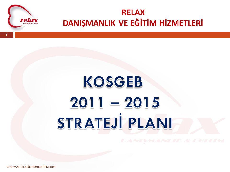 RELAX DANIŞMANLIK VE EĞİTİM HİZMETLERİ www.relaxdanismanlik.com 2 TAKDİM PLANI KONU : KOSGEB 2011-2015 Strateji Planı SÜRE : 40 Dakika (63 yansı) SUNAN : Hasan Fırıncıoğlu Müdür KAYNAK : KOSGEB 2011-2015 Strateji Planı
