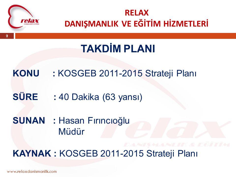 RELAX DANIŞMANLIK VE EĞİTİM HİZMETLERİ www.relaxdanismanlik.com 2 TAKDİM PLANI KONU : KOSGEB 2011-2015 Strateji Planı SÜRE : 40 Dakika (63 yansı) SUNA