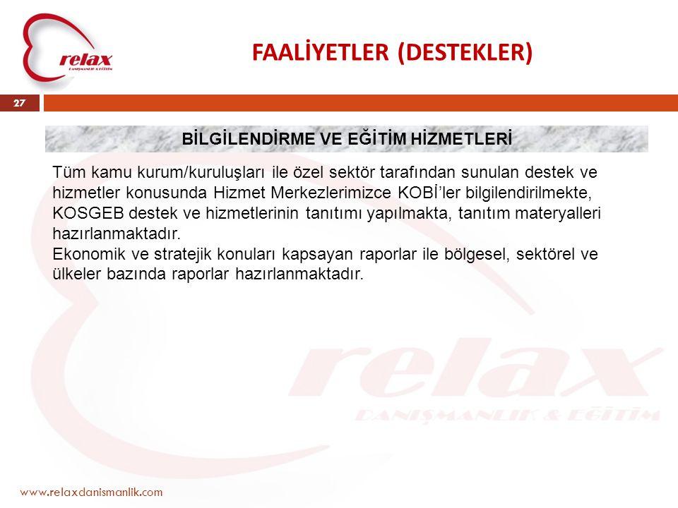 FAALİYETLER (DESTEKLER) www.relaxdanismanlik.com 27 BİLGİLENDİRME VE EĞİTİM HİZMETLERİ Tüm kamu kurum/kuruluşları ile özel sektör tarafından sunulan d