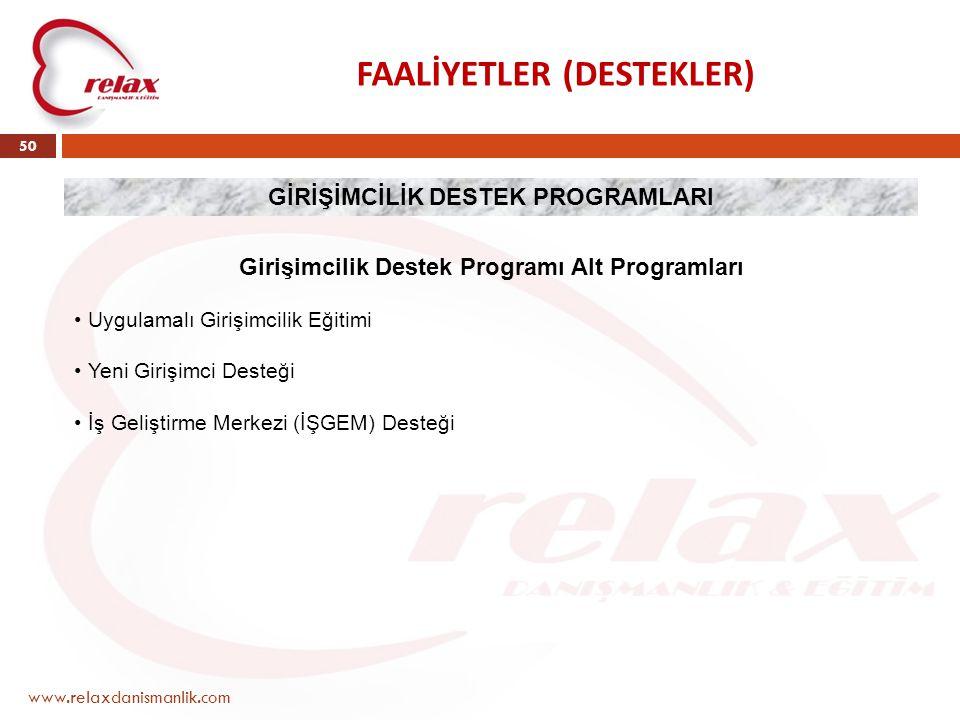 FAALİYETLER (DESTEKLER) www.relaxdanismanlik.com 50 GİRİŞİMCİLİK DESTEK PROGRAMLARI Girişimcilik Destek Programı Alt Programları • Uygulamalı Girişimc
