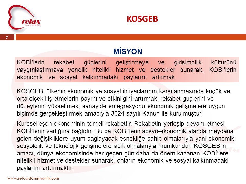 KOSGEB www.relaxdanismanlik.com 7 MİSYON KOBİ'lerin rekabet güçlerini geliştirmeye ve girişimcilik kültürünü yaygınlaştırmaya yönelik nitelikli hizmet