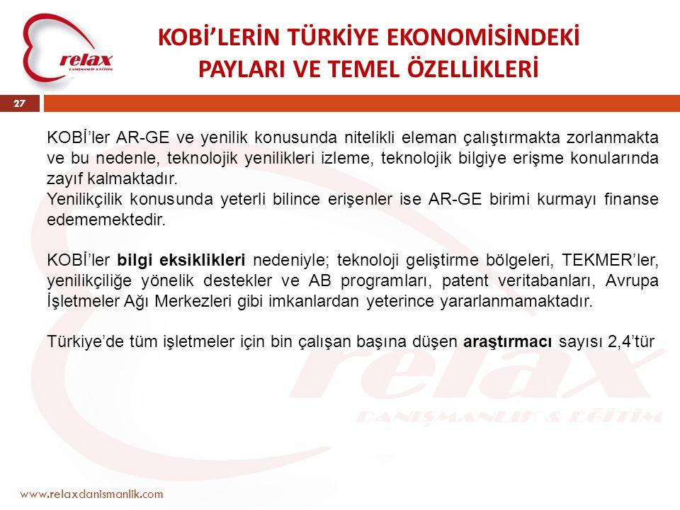 www.relaxdanismanlik.com 27 KOBİ'LERİN TÜRKİYE EKONOMİSİNDEKİ PAYLARI VE TEMEL ÖZELLİKLERİ KOBİ'ler AR-GE ve yenilik konusunda nitelikli eleman çalışt