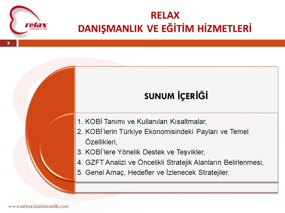 RELAX DANIŞMANLIK VE EĞİTİM HİZMETLERİ www.relaxdanismanlik.com 3 SUNUM İ ÇER İĞİ 1. KOBİ Tanımı ve Kullanılan Kısaltmalar, 2. KOBİ'lerin Türkiye Ekon
