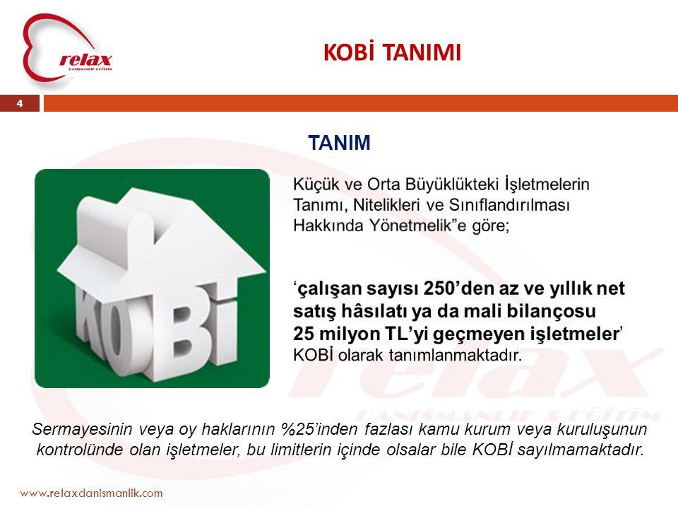 KOBİ TANIMI www.relaxdanismanlik.com 4 TANIM Sermayesinin veya oy haklarının %25'inden fazlası kamu kurum veya kuruluşunun kontrolünde olan işletmeler