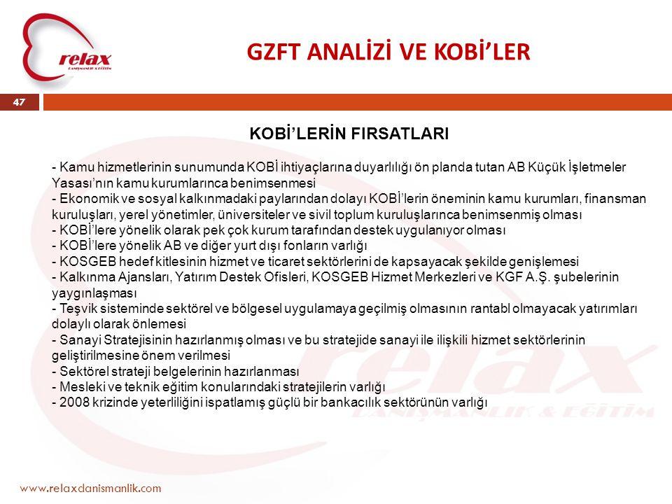 GZFT ANALİZİ VE KOBİ'LER www.relaxdanismanlik.com 47 KOBİ'LERİN FIRSATLARI - Kamu hizmetlerinin sunumunda KOBİ ihtiyaçlarına duyarlılığı ön planda tut