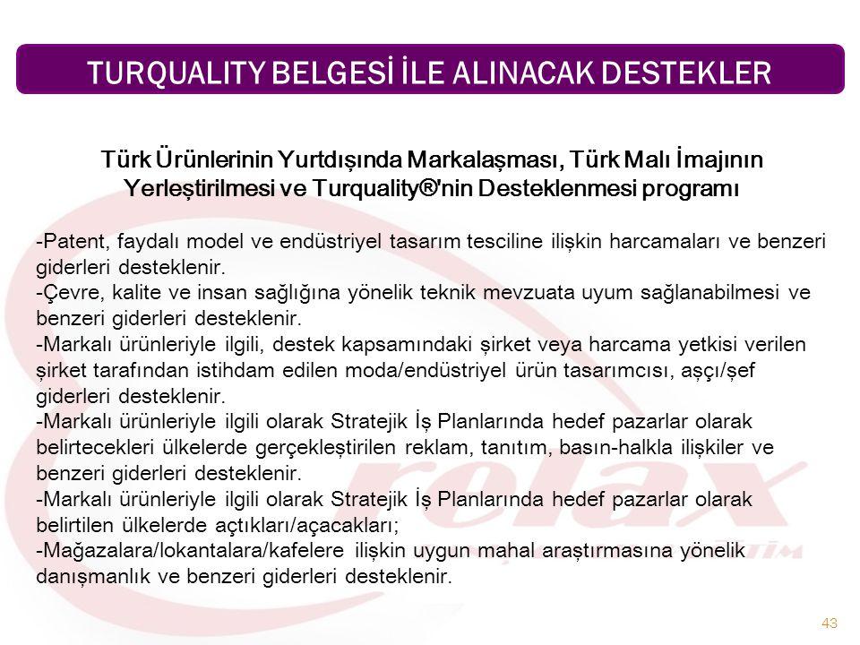43 Türk Ürünlerinin Yurtdışında Markalaşması, Türk Malı İmajının Yerleştirilmesi ve Turquality®'nin Desteklenmesi programı -Patent, faydalı model ve e