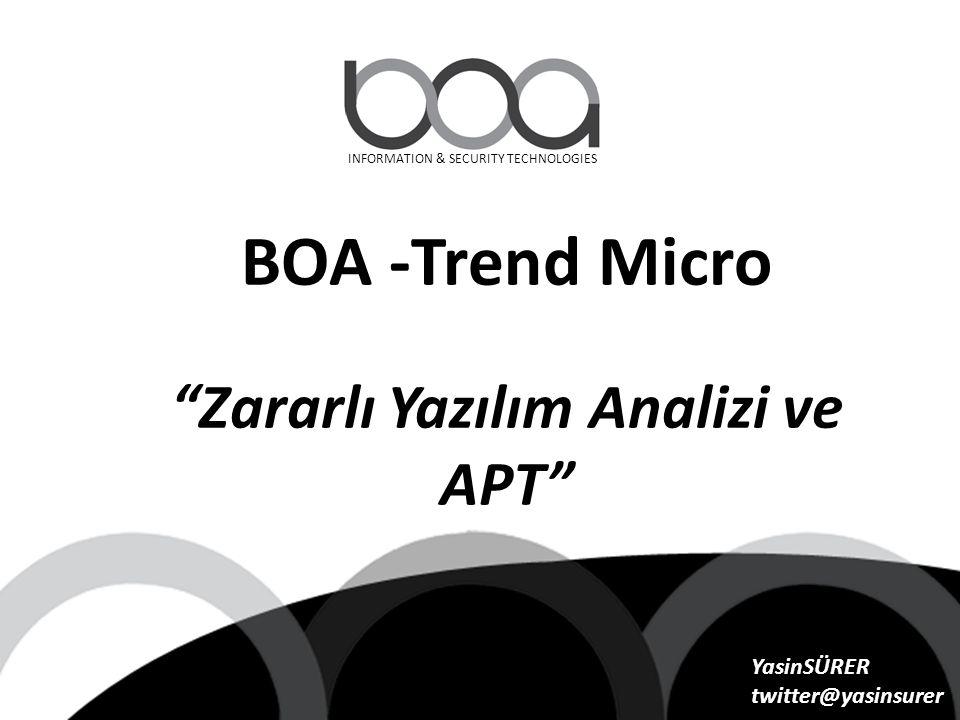 """INFORMATION & SECURITY TECHNOLOGIES BOA -Trend Micro """"Zararlı Yazılım Analizi ve APT"""" YasinSÜRER twitter@yasinsurer"""
