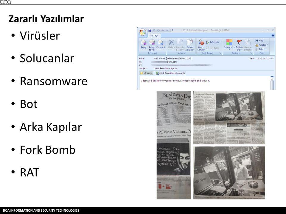 BOA INFORMATION AND SECURITY TECHNOLOGIES Zararlı Yazılımlar • Virüsler • Solucanlar • Ransomware • Bot • Arka Kapılar • Fork Bomb • RAT