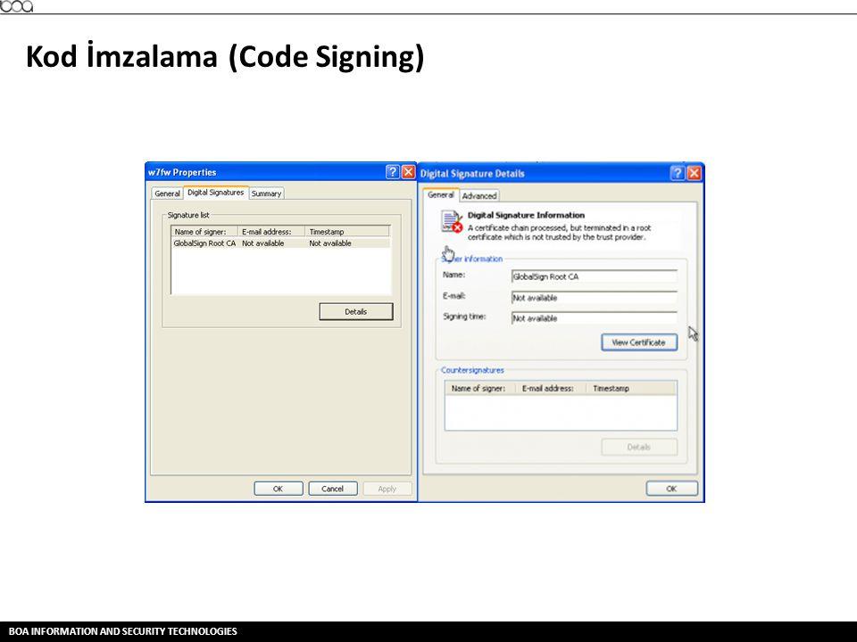 BOA INFORMATION AND SECURITY TECHNOLOGIES Kod İmzalama (Code Signing)