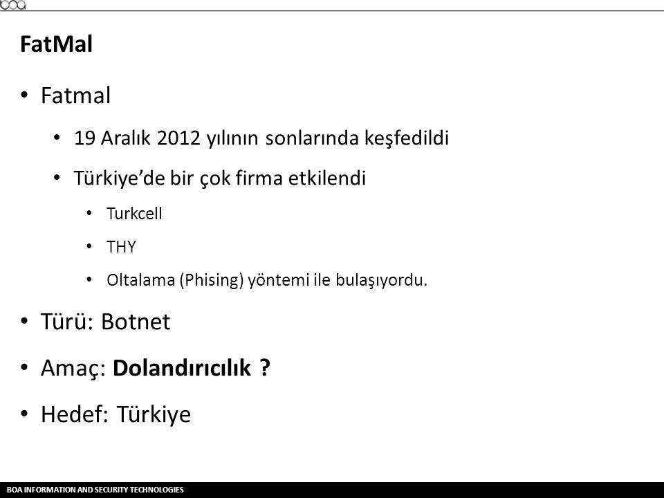 BOA INFORMATION AND SECURITY TECHNOLOGIES FatMal • Fatmal • 19 Aralık 2012 yılının sonlarında keşfedildi • Türkiye'de bir çok firma etkilendi • Turkce