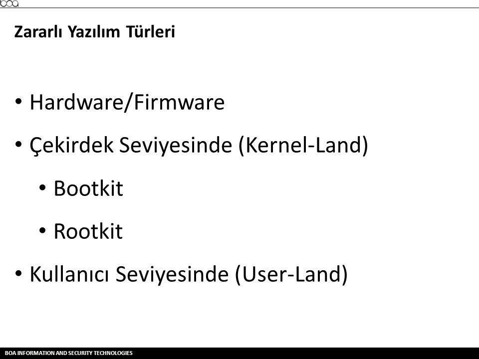 BOA INFORMATION AND SECURITY TECHNOLOGIES Zararlı Yazılım Türleri • Hardware/Firmware • Çekirdek Seviyesinde (Kernel-Land) • Bootkit • Rootkit • Kulla