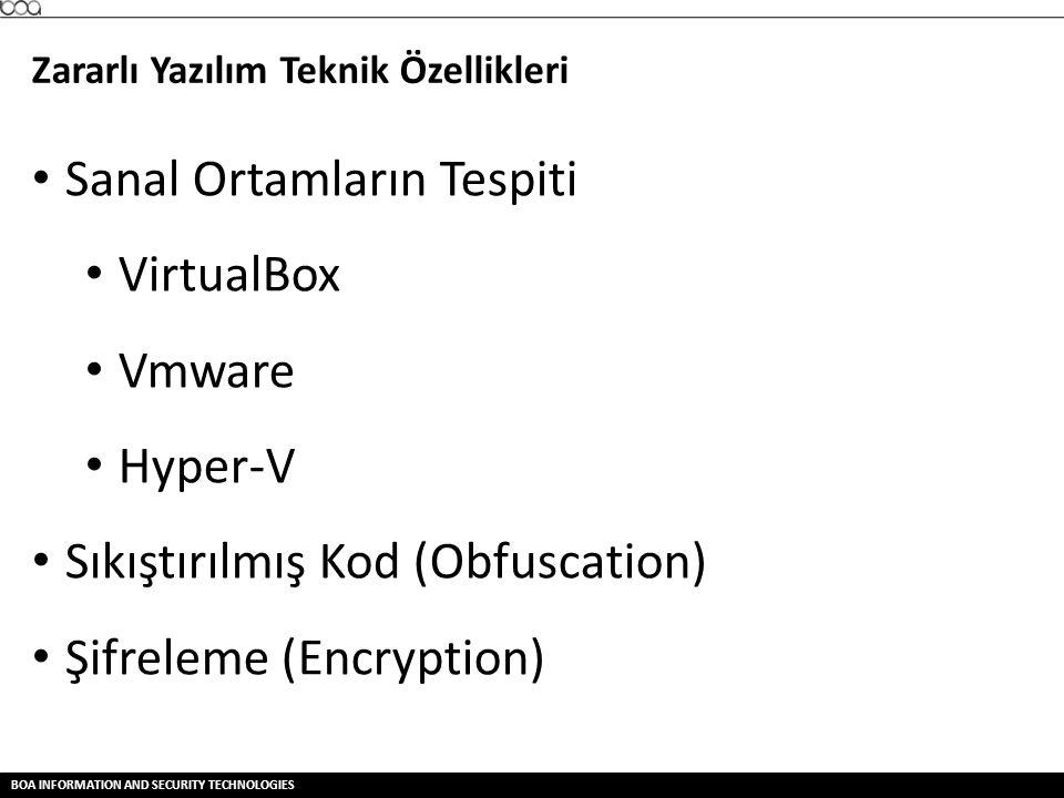BOA INFORMATION AND SECURITY TECHNOLOGIES Zararlı Yazılım Teknik Özellikleri • Sanal Ortamların Tespiti • VirtualBox • Vmware • Hyper-V • Sıkıştırılmı