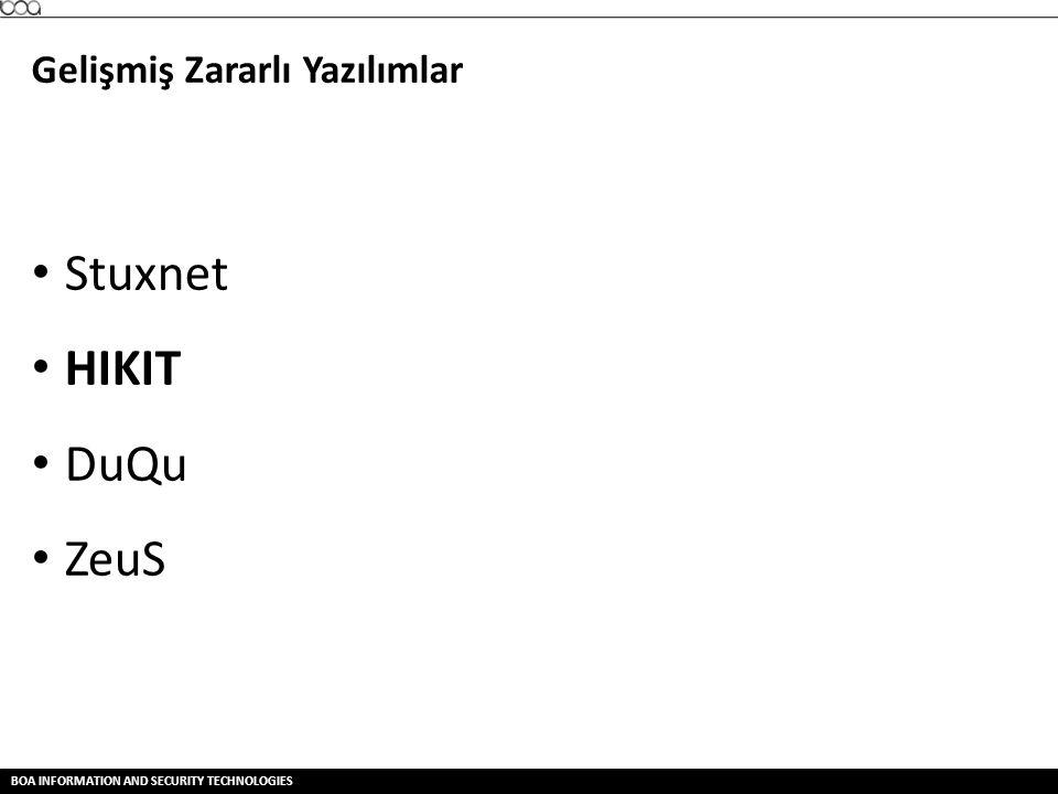BOA INFORMATION AND SECURITY TECHNOLOGIES Gelişmiş Zararlı Yazılımlar • Stuxnet • HIKIT • DuQu • ZeuS