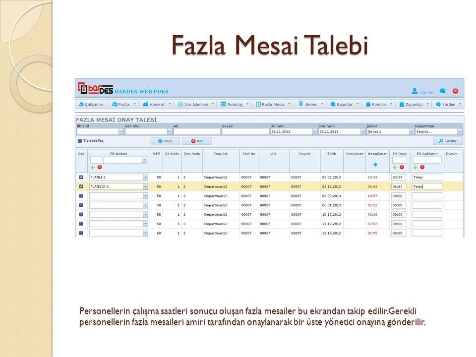 Fazla Mesai Talebi Personellerin çalışma saatleri sonucu oluşan fazla mesailer bu ekrandan takip edilir.Gerekli personellerin fazla mesaileri amiri ta