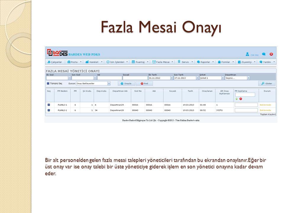 Fazla Mesai Onayı Bir alt personelden gelen fazla mesai talepleri yöneticileri tarafından bu ekrandan onaylanır.E ğ er bir üst onay var ise onay taleb