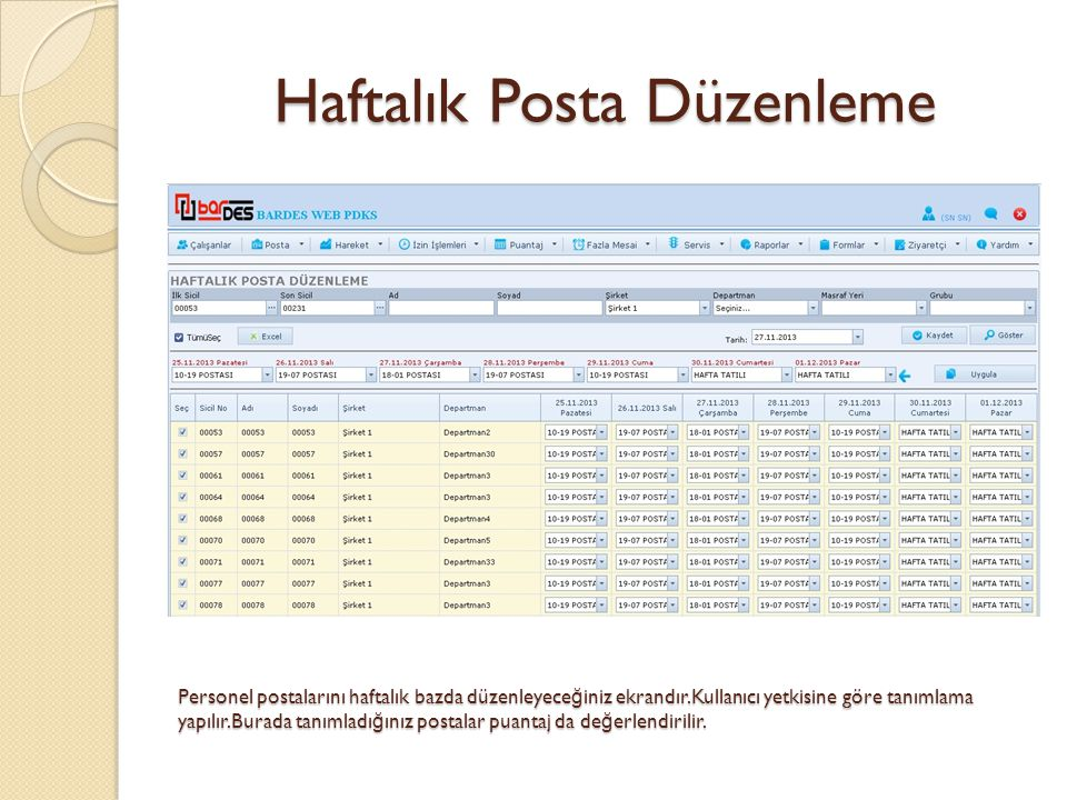 Haftalık Posta Düzenleme Personel postalarını haftalık bazda düzenleyece ğ iniz ekrandır.Kullanıcı yetkisine göre tanımlama yapılır.Burada tanımladı ğ ınız postalar puantaj da de ğ erlendirilir.