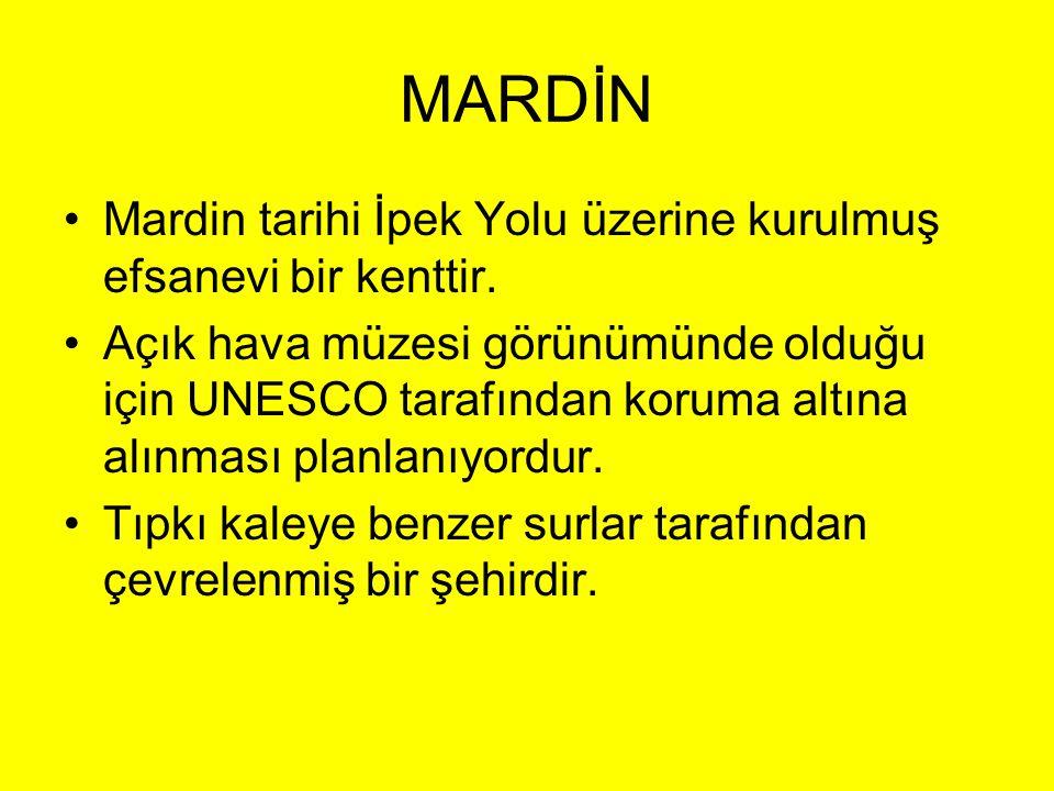 •Mardin tarihi İpek Yolu üzerine kurulmuş efsanevi bir kenttir. •Açık hava müzesi görünümünde olduğu için UNESCO tarafından koruma altına alınması pla