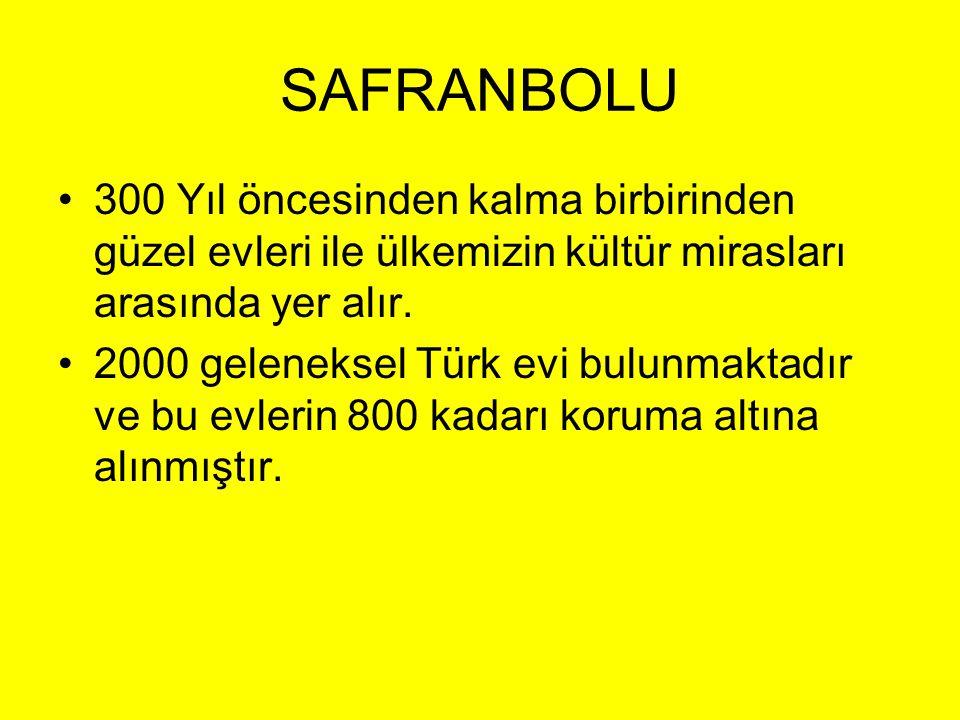 SAFRANBOLU •300 Yıl öncesinden kalma birbirinden güzel evleri ile ülkemizin kültür mirasları arasında yer alır. •2000 geleneksel Türk evi bulunmaktadı