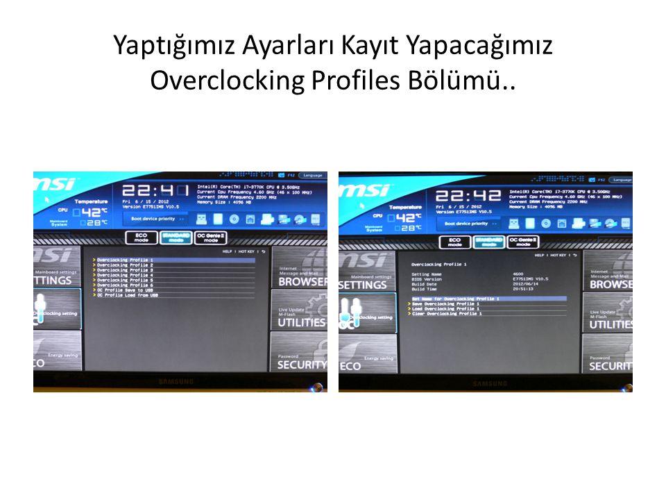 Yaptığımız Ayarları Kayıt Yapacağımız Overclocking Profiles Bölümü..