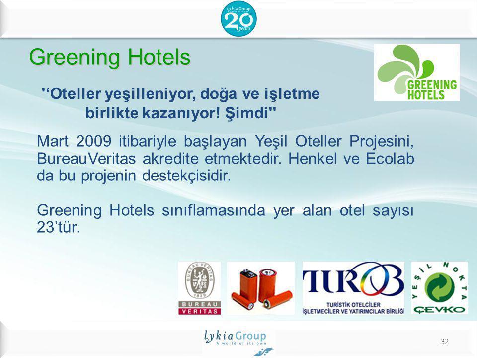 Greening Hotels Greening Hotels ''Oteller yeşilleniyor, doğa ve işletme birlikte kazanıyor! Şimdi'' Mart 2009 itibariyle başlayan Yeşil Oteller Projes