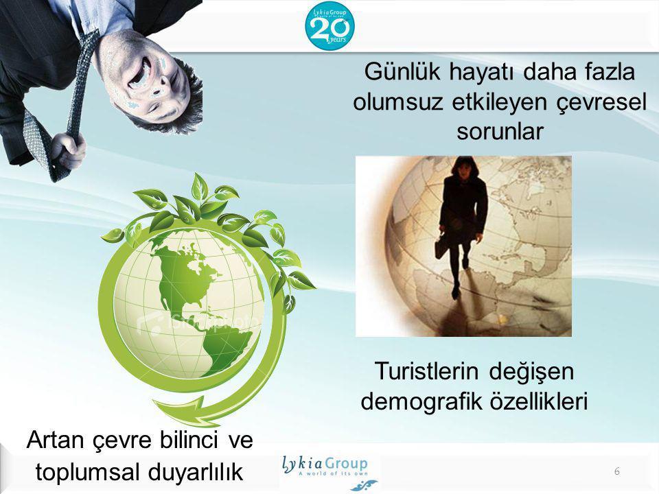 Günlük hayatı daha fazla olumsuz etkileyen çevresel sorunlar Turistlerin değişen demografik özellikleri Artan çevre bilinci ve toplumsal duyarlılık 6