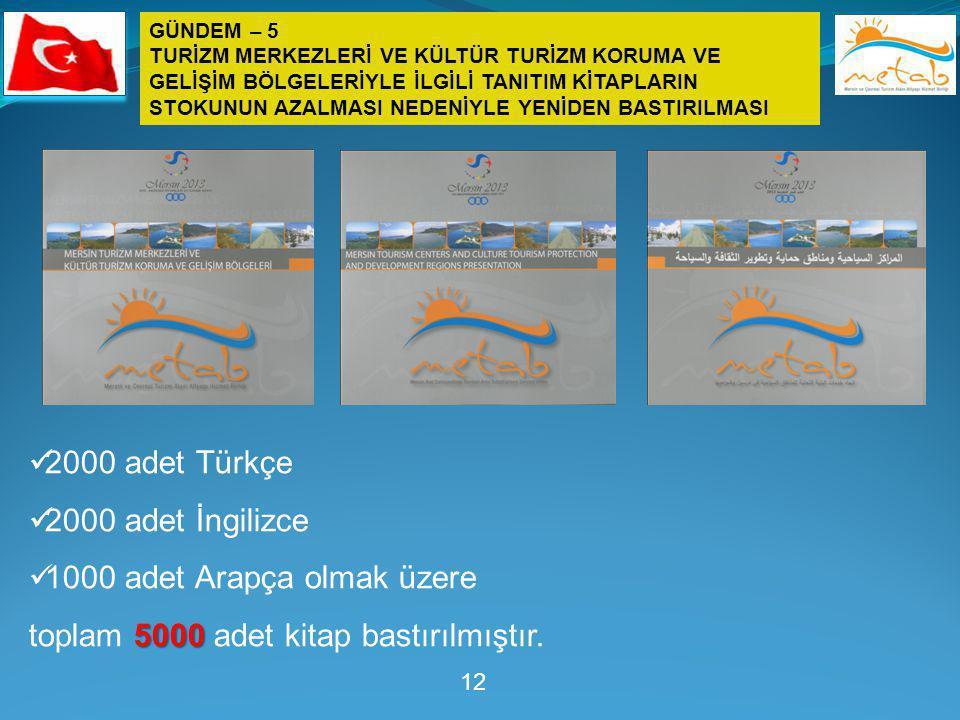 12  2000 adet Türkçe  2000 adet İngilizce  1000 adet Arapça olmak üzere 5000 toplam 5000 adet kitap bastırılmıştır. GÜNDEM – 5 TURİZM MERKEZLERİ VE