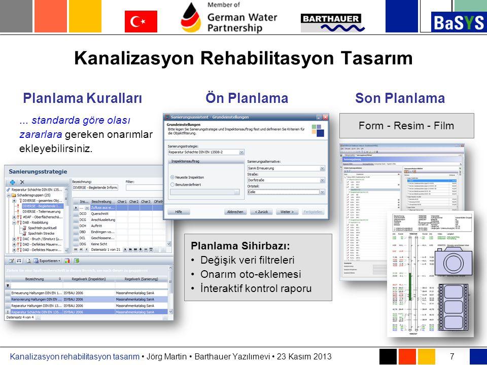 Kanalizasyon rehabilitasyon tasarım • Jörg Martin • Barthauer Yazılımevi • 23 Kasım 2013 Kanalizasyon Rehabilitasyon Tasarım 7 Planlama KurallarıÖn Pl