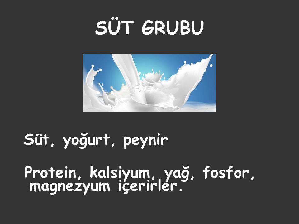 SÜT GRUBU Süt, yoğurt, peynir Protein, kalsiyum, yağ, fosfor, magnezyum içerirler.
