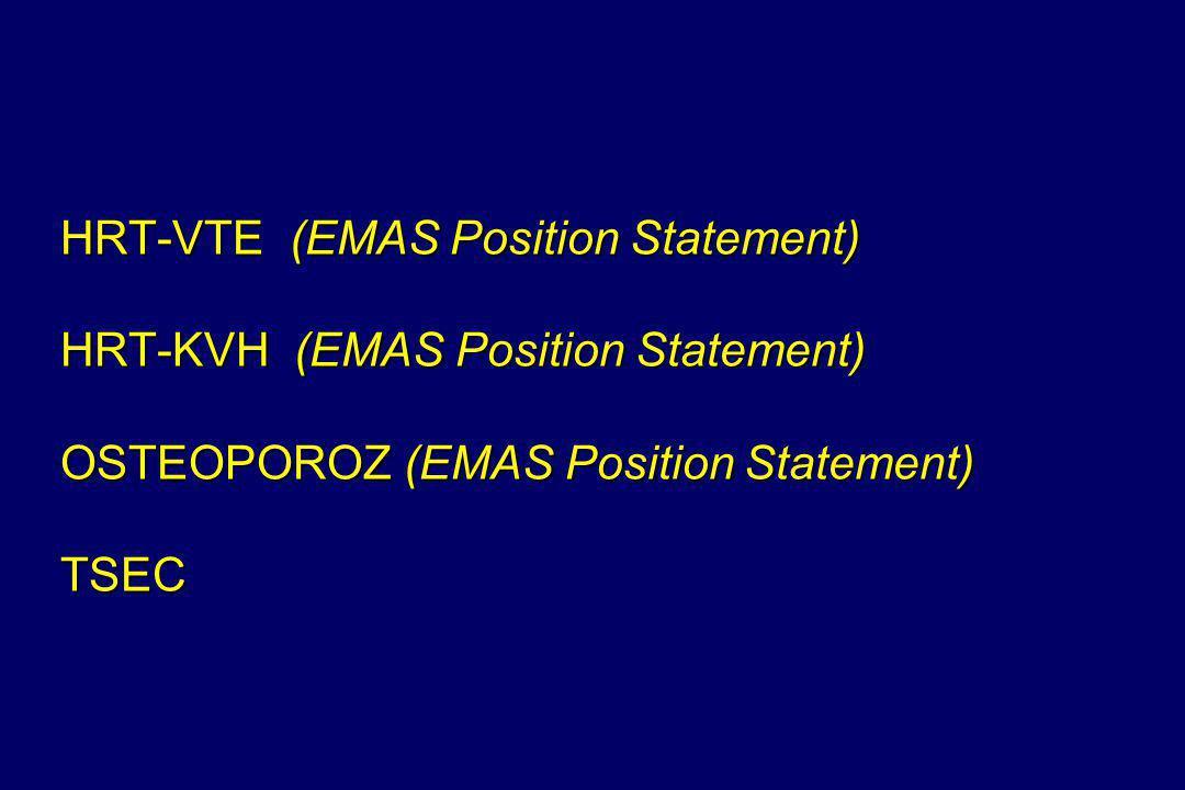 HRT-VTE •Menopozdan sonra artış gösterir •HRT (-) : •Premenopozal genel insidens0,5/1000 •60 yaş üzeri genel insidens2-3/1000 Grady HERS, 2000 Rossouw WHI, 2007