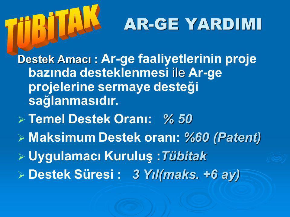 AR-GE YARDIMI Destek Amacı : ile Destek Amacı : Ar-ge faaliyetlerinin proje bazında desteklenmesi ile Ar-ge projelerine sermaye desteği sağlanmasıdır.