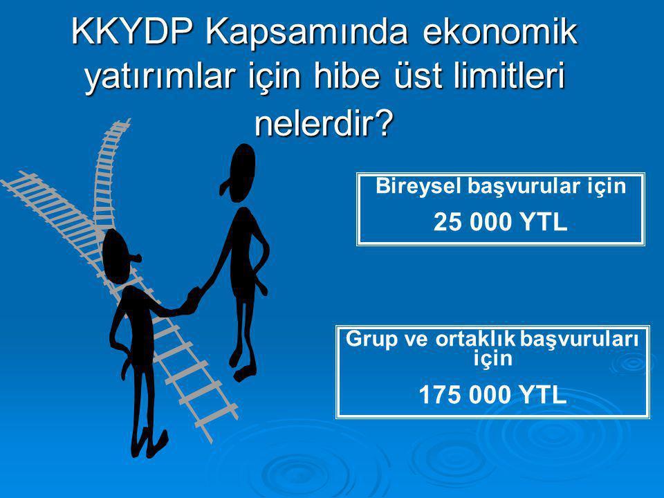 Bireysel başvurular için 25 000 YTL KKYDP Kapsamında ekonomik yatırımlar için hibe üst limitleri nelerdir.