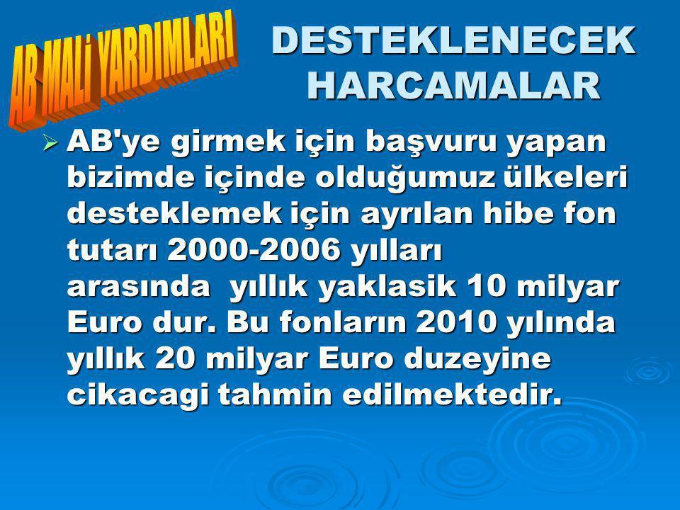 DESTEKLENECEK HARCAMALAR  AB ye girmek için başvuru yapan bizimde içinde olduğumuz ülkeleri desteklemek için ayrılan hibe fon tutarı 2000-2006 yılları arasında yıllık yaklasik 10 milyar Euro dur.