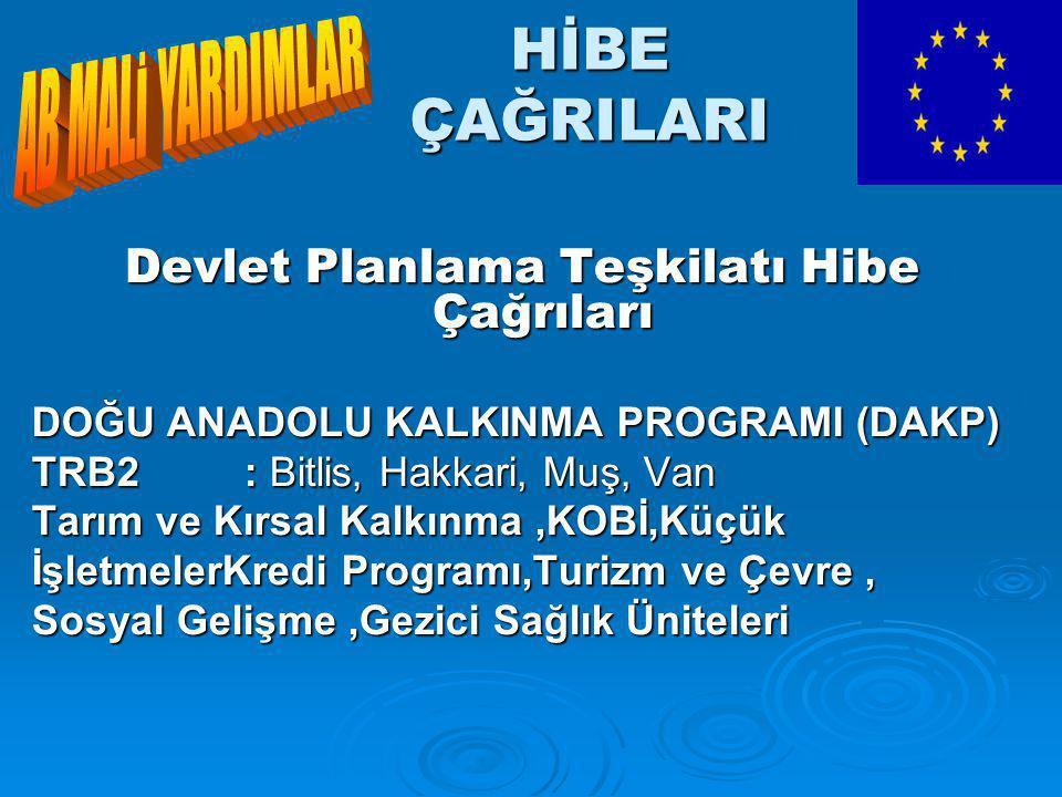 HİBE ÇAĞRILARI Devlet Planlama Teşkilatı Hibe Çağrıları DOĞU ANADOLU KALKINMA PROGRAMI (DAKP) TRB2: Bitlis, Hakkari, Muş, Van Tarım ve Kırsal Kalkınma,KOBİ,Küçük İşletmelerKredi Programı,Turizm ve Çevre, Sosyal Gelişme,Gezici Sağlık Üniteleri