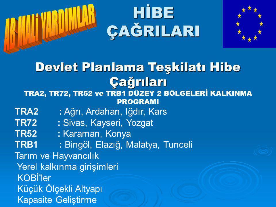 HİBE ÇAĞRILARI Devlet Planlama Teşkilatı Hibe Çağrıları TRA2, TR72, TR52 ve TRB1 DÜZEY 2 BÖLGELERİ KALKINMA PROGRAMI TRA2 : Ağrı, Ardahan, Iğdır, Kars TR72 : Sivas, Kayseri, Yozgat TR52 : Karaman, Konya TRB1 : Bingöl, Elazığ, Malatya, Tunceli Tarım ve Hayvancılık Yerel kalkınma girişimleri KOBİ ler Küçük Ölçekli Altyapı Kapasite Geliştirme