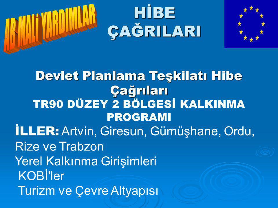 HİBE ÇAĞRILARI Devlet Planlama Teşkilatı Hibe Çağrıları TR90 DÜZEY 2 BÖLGESİ KALKINMA PROGRAMI İLLER: Artvin, Giresun, Gümüşhane, Ordu, Rize ve Trabzon Yerel Kalkınma Girişimleri KOBİ ler Turizm ve Çevre Altyapısı
