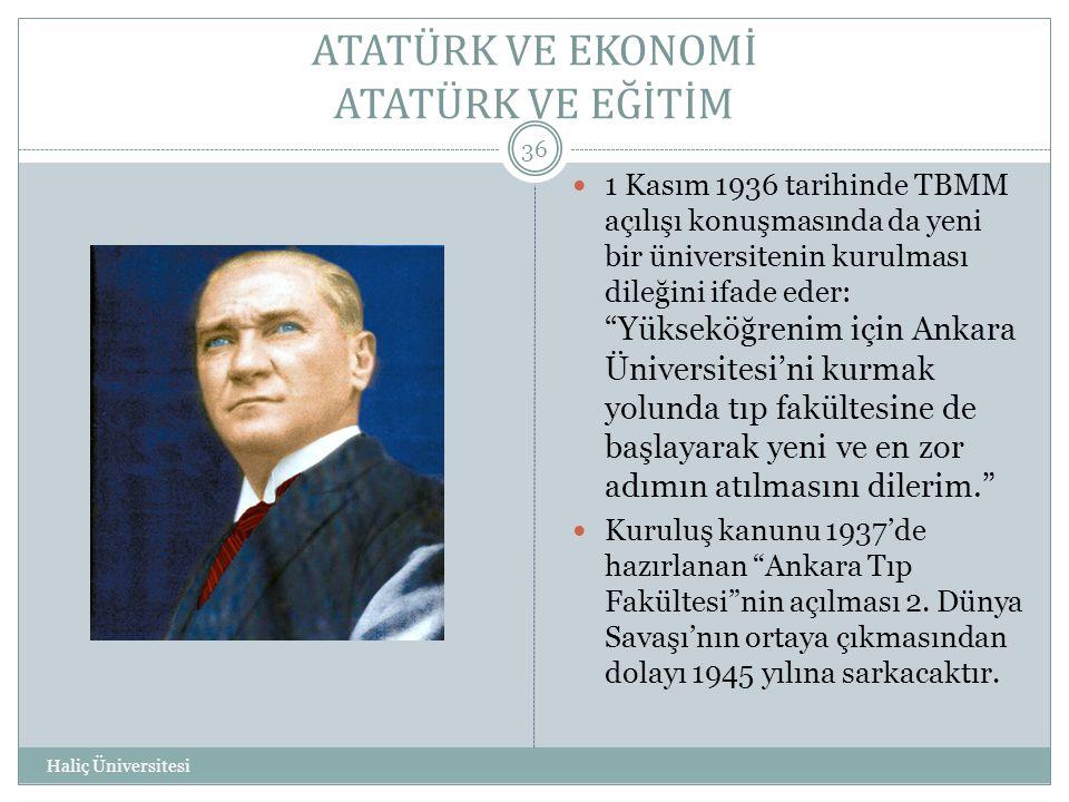 ATATÜRK VE EKONOMİ ATATÜRK VE EĞİTİM Haliç Üniversitesi 36  1 Kasım 1936 tarihinde TBMM açılışı konuşmasında da yeni bir üniversitenin kurulması dile