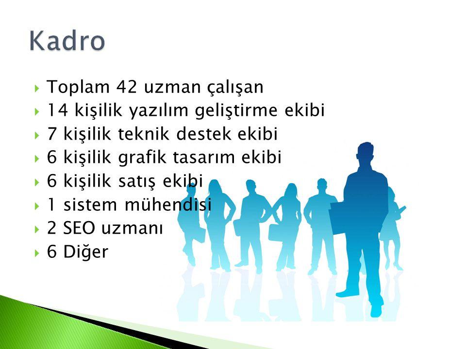  Toplam 42 uzman çalışan  14 kişilik yazılım geliştirme ekibi  7 kişilik teknik destek ekibi  6 kişilik grafik tasarım ekibi  6 kişilik satış ekibi  1 sistem mühendisi  2 SEO uzmanı  6 Diğer