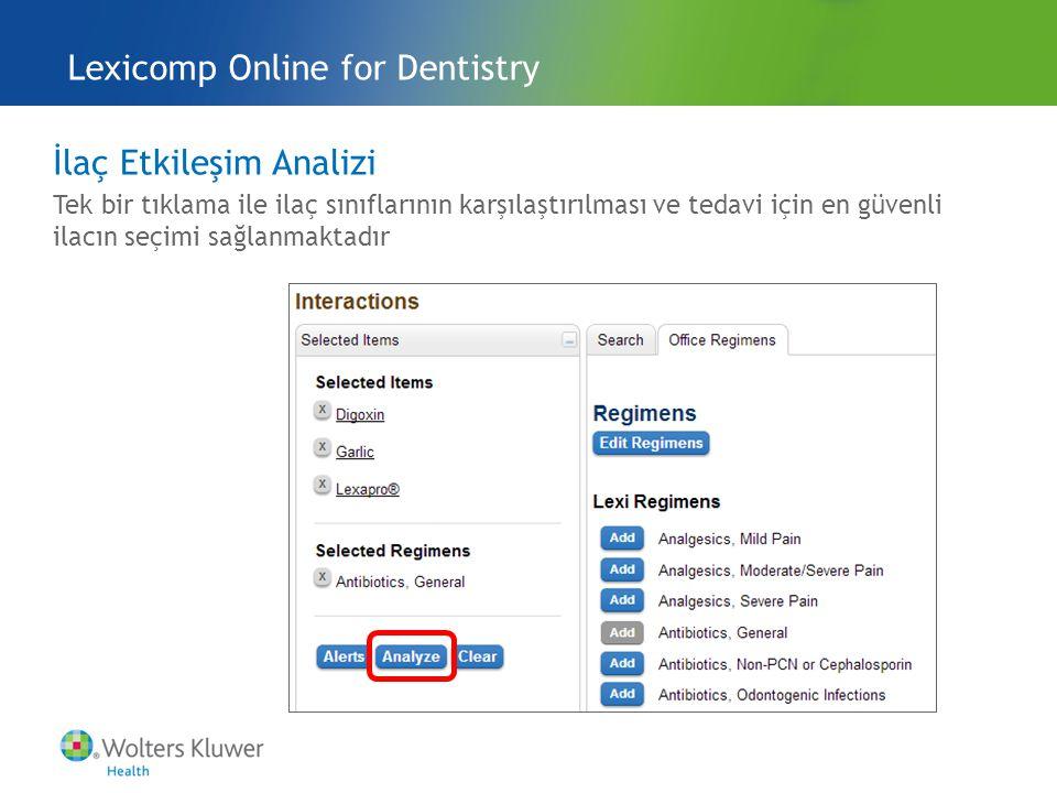 İlaç Etkileşim Analizi Tek bir tıklama ile ilaç sınıflarının karşılaştırılması ve tedavi için en güvenli ilacın seçimi sağlanmaktadır Lexicomp Online for Dentistry