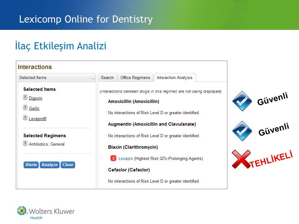 İlaç Etkileşim Analizi Lexicomp Online for Dentistry Güvenli TEHLİKELİ