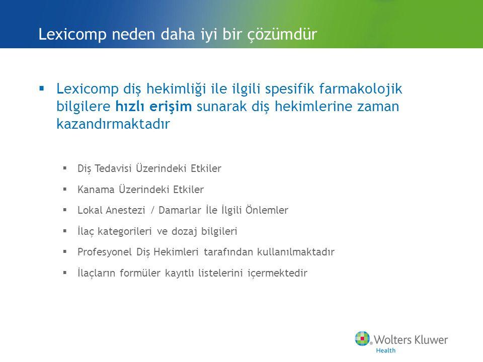 Alarmlar (Alerts) Lexicomp Online for Dentistry