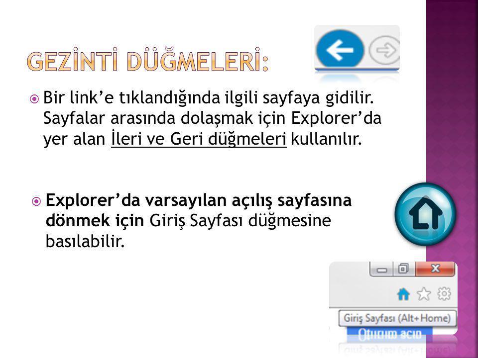  Bir link'e tıklandığında ilgili sayfaya gidilir. Sayfalar arasında dolaşmak için Explorer'da yer alan İleri ve Geri düğmeleri kullanılır.  Explorer
