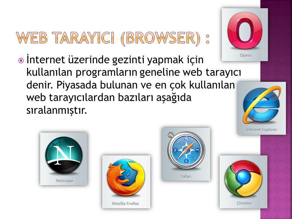  İnternet üzerinde gezinti yapmak için kullanılan programların geneline web tarayıcı denir. Piyasada bulunan ve en çok kullanılan web tarayıcılardan