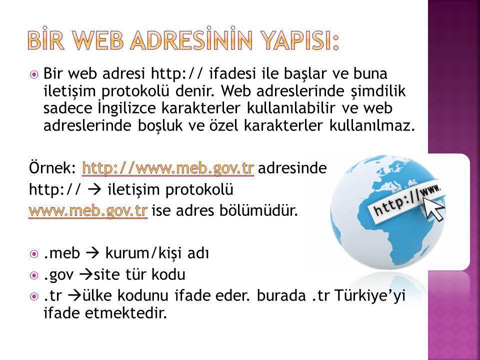  İnternet üzerinde arama yapmak için çeşitli web siteleri vardır.