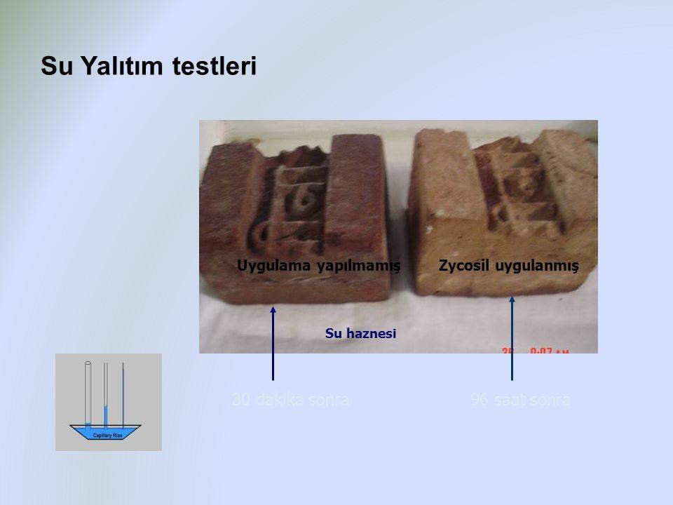 30 dakika sonra96 saat sonra Zycosil Treated Water soaked Towel Untreated Uygulama yapılmamışZycosil uygulanmış Su haznesi Su Yalıtım testleri