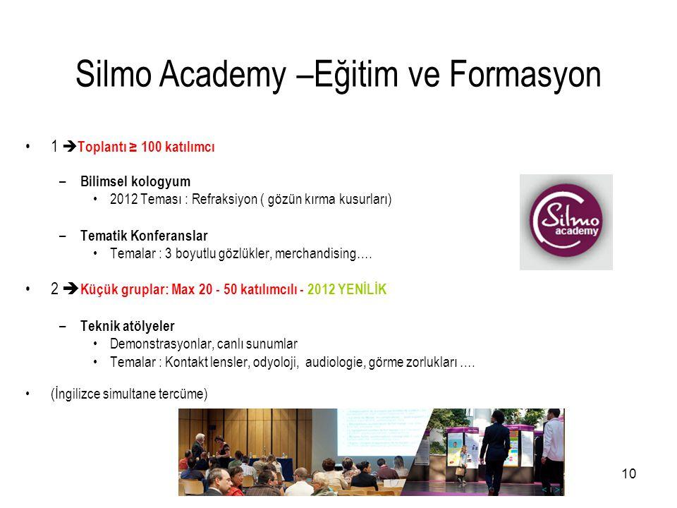10 •1  Toplantı ≥ 100 katılımcı – Bilimsel kologyum •2012 Teması : Refraksiyon ( gözün kırma kusurları) – Tematik Konferanslar •Temalar : 3 boyutlu g