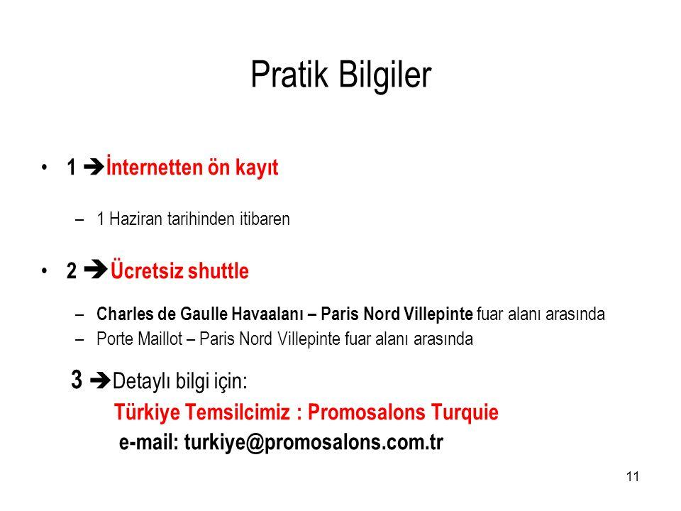11 Pratik Bilgiler • 1  İnternetten ön kayıt –1 Haziran tarihinden itibaren • 2  Ücretsiz shuttle – Charles de Gaulle Havaalanı – Paris Nord Villepi
