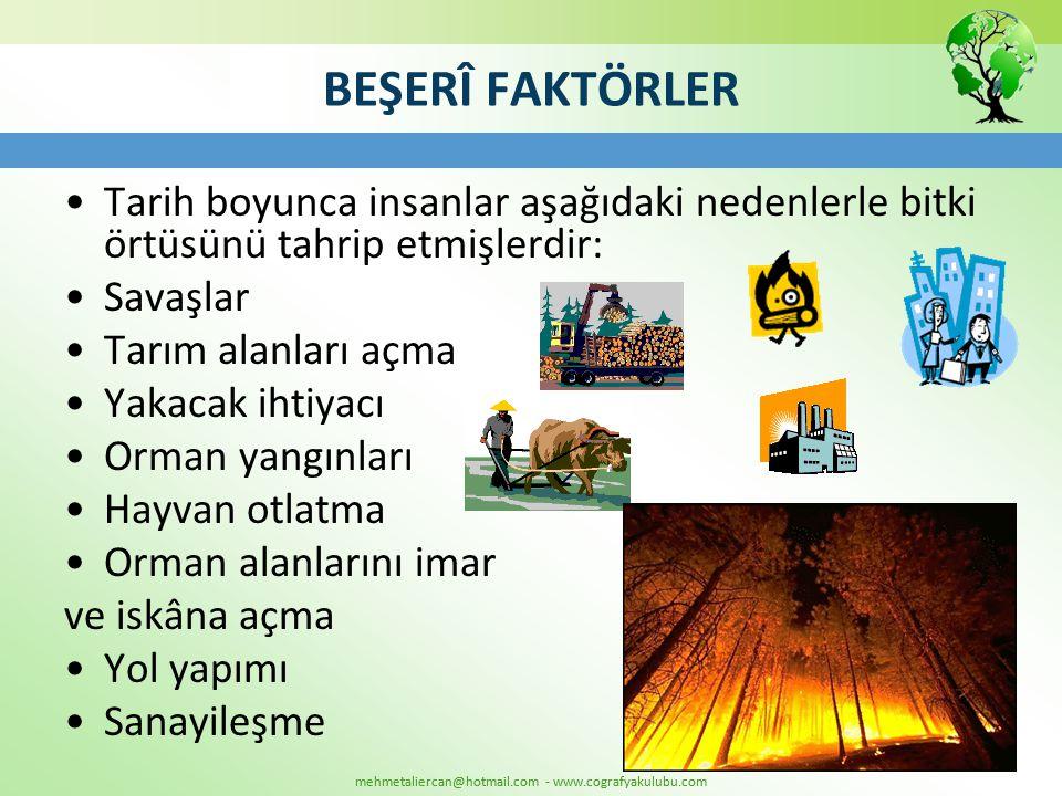 mehmetaliercan@hotmail.com - www.cografyakulubu.com BEŞERÎ FAKTÖRLER •Tarih boyunca insanlar aşağıdaki nedenlerle bitki örtüsünü tahrip etmişlerdir: •